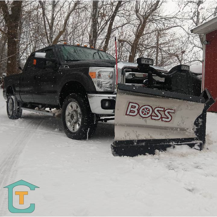 Connecticut Property Management company pickup truck with snow plow for rental properties
